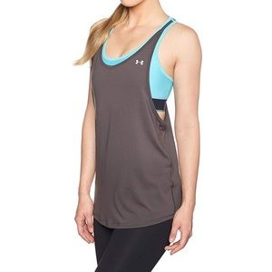Under Armour Heat Gear Grey&Blue Bra&Tank Top Sz.M